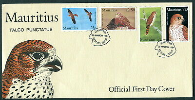 1984 Mauritius FDC. Kestrel first day cover. SG: 678 - 681. Birds of prey