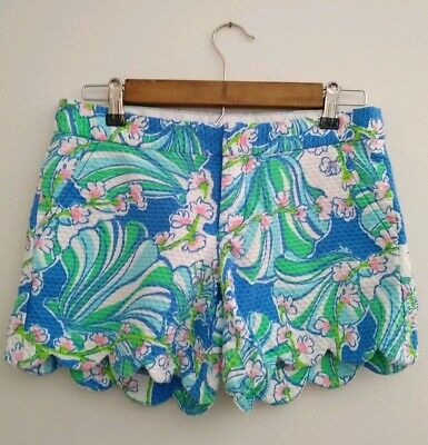 de28f53c375293 Lilly Pulitzer Women's Buttercup Shorts Size 0 Bay Blue Coasting Print  Scalloped