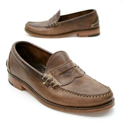 8109ceb0593 Oak Street Bootmakers Men s 7.5 D Beefroll Brown Leather Moc Penny Loafers  USA