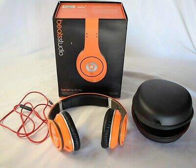 BEATS BY DR  Dre Studio Headband Headphones - Orange - w/ Original Box /  Papers