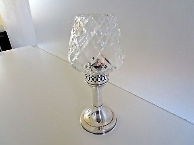 Silver Plated & Cut Glass Candle Lamp, Circa 1940's