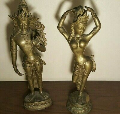 """Antique Vintage Asian Buddha Solid Bronze Statues, lot of 2. 18 """" tall"""