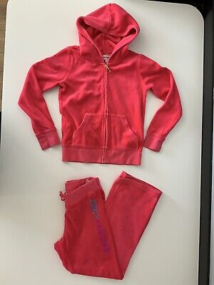 Juicy Couture Girls Tracksuit, Size Age 8 Years, Pink, Terry Towel, Hoodie, Vgc