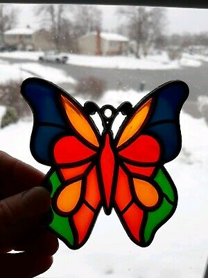 Pretty BUTTERFLY Tiffany Style Stained Glass Window Panel Suncatcher 4""