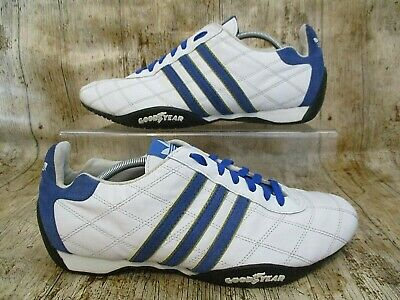 6912801d88 Adidas Goodyear Originals Trainers Size 9 White Leather / Blue Suede Stripes