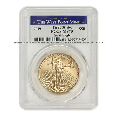 2019 $50 Gold Eagle PCGS MS70 First Strike 1oz 22KT Coin w/ West Point Label