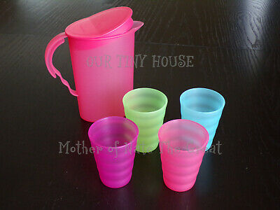 TUPPERWARE MINI Pitcher and Tumblers KIDS PARTY SET Pink Blue Orange Green NEW