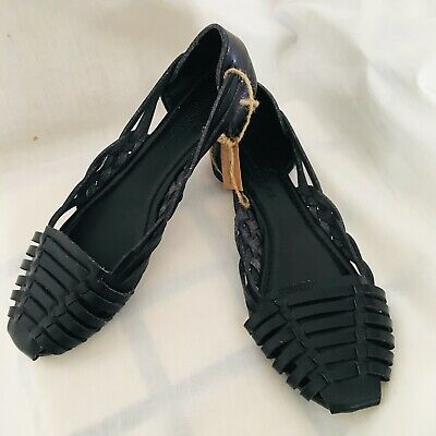 5fc9d7d23f025 American Eagle Outfitters Black Faux Leather Huarache Sandals Size 7.5 NWT