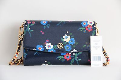 b34f060801b NWT Tory Burch Parker Floral Printed Chain Wallet Pansy Bouquet Floral 35%  OFF!