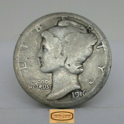 1916 Mercury Silver Dime, Early Date -#C13364