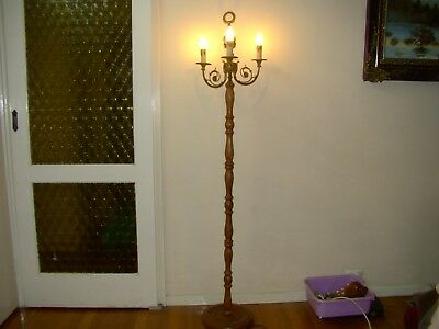 Brass / Ceramic / Wood Floor Lamp With Big Beautiful Lamp Shade 170 Cm High
