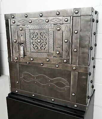 18th Century Wrought Iron Italian Antique Hobnail Studded Safe, Strongbox, Chest