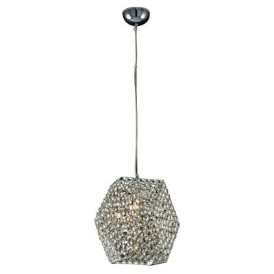 "Paris Prix - Lampe Suspension Cristal ""gandia"" 29cm Transparent"