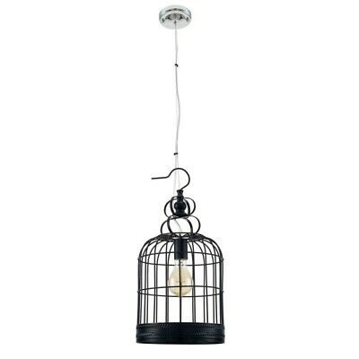 "Paris Prix - Lampe Suspension Vintage ""cage"" 25cm Noir"