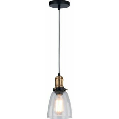 "Paris Prix - Lampe Suspension Industriel ""conrad"" 14cm Transparent"