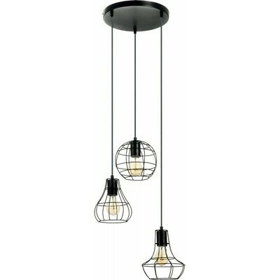 "Paris Prix - Lampe Suspension 3 Têtes ""outline"" 43cm Noir"