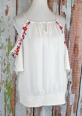 dbfdb633ff8282 Thalia Sodi Embroidered Cold Shoulder Blouse Top Shirt Pullover Blouson  White XL