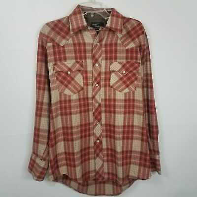 c90a146a322 60 s Vintage CHAMPION WESTERN WEAR Long Tail Cowboy Wool Red Snap Shirt L  XL XXL