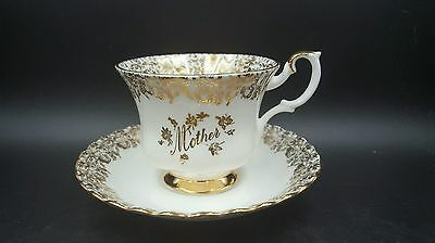 """Royal Albert Gold Gilded """"Mother"""" Footed Tea Cup and Saucer"""