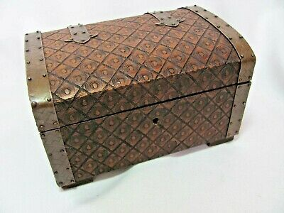 Vintage Small Hand Carved Wooden Chest Box Metal Strap Hinges Unique Design