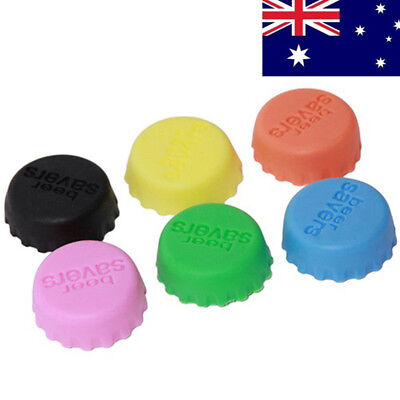 6Pcs Silicone Wine Beer Cover Bottle Cap Gel Stopper Beverage Kitchen Bar Gadget