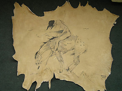 #189.  An Original, authentic Native American Lakota Painting on hide by Paha Sk