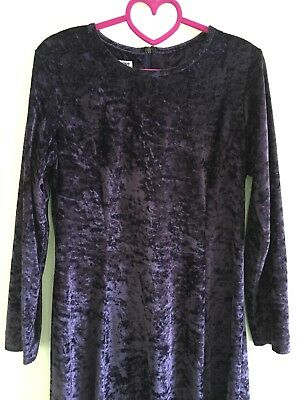 Vintage retro purple 90s Table Eight velvet look dress - size 12