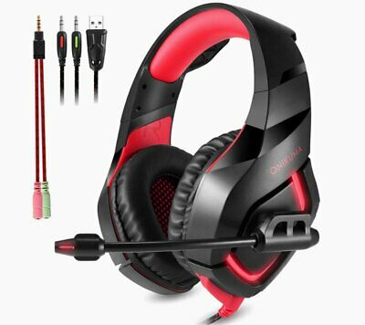 Gaming Headset 7.1 Surround Headphone Headband Microphone LED USB For PC PS4