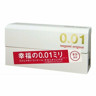 ☀Sagami Original 001 condoms Non-latex Thinnest Ultra thin 0.01 Japan Box 5 PCS