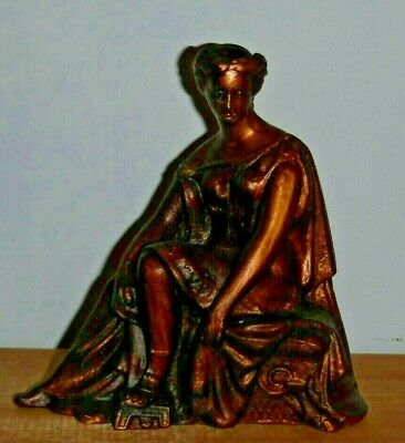 ANTIQUE AMERICAN STATUE ROMAN LADY SEATED MANTLE CLOCK TOPPER c.1880