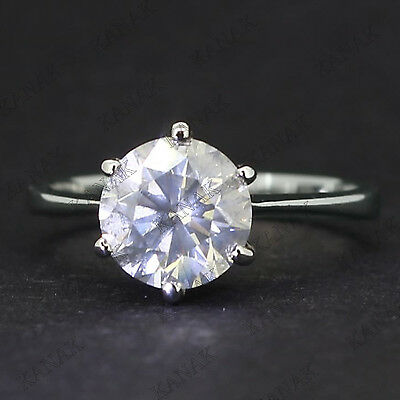 2.00 Ct Round Cut Diamond Solitaire Engagement Ring Solid 14k White Gold