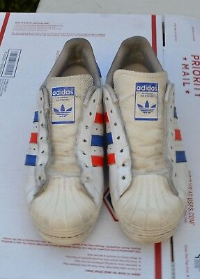 Adidas Originals Superstar G99907 White Blue Red Retro Leather Shoes Sz 9  Men s 8b9408ba7