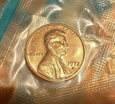 1972 S Lincoln Memorial Cent / Penny in MINT CELLO uncirculated BU RED