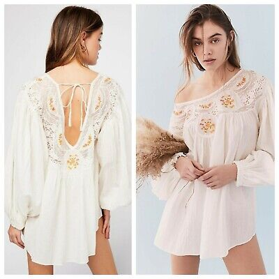 a78cb27230 FREE PEOPLE BOHO   SECRET GARDEN   EMBROIDERED BLOUSE TOP Sz L NWT   168