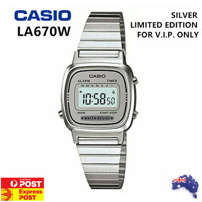 Casio Women LA670W Classic Digital Watch Ladies Silver Limited Edition VIP Only