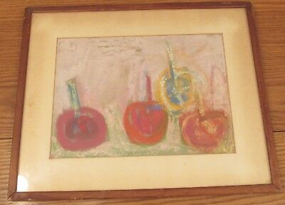 Sam Spanier 1925–2008 colorful pastel drawing still life apples Woodstock artist