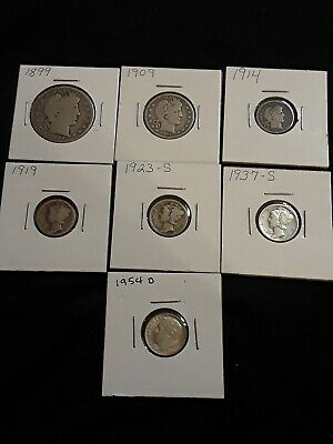 $1.25 Face Value 90% Silver Coins dated 1899 -1954, Half Dollar included 0115