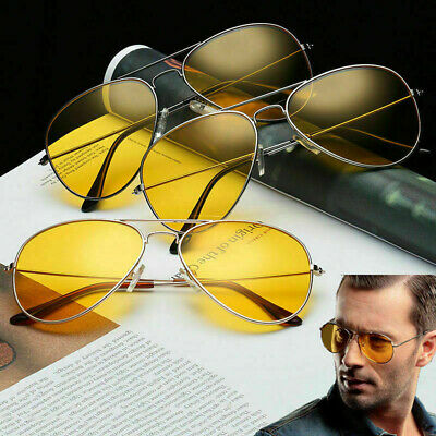 UV400 Men Sunglasses Driving Night Vision Sun Glasses Yellow Lens Aviator Unisex