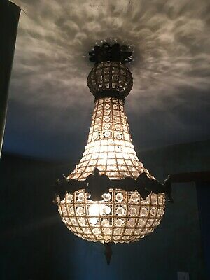 Original Renovated Large French Button Empire Chandelier