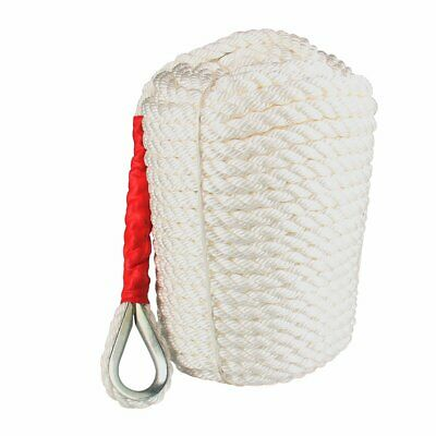 19mm x 61M Three Braid Nylon Anchor Rope, Super Strong, Great for Drum Winches