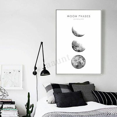 New Moon Phases Canvas Abstract Poster Nordic Print Minimalist Wall Art