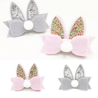 Sequined Rabbit Ear Baby Girls Toddler Kids Cute Hair Clip Bow Hairpin Barrette