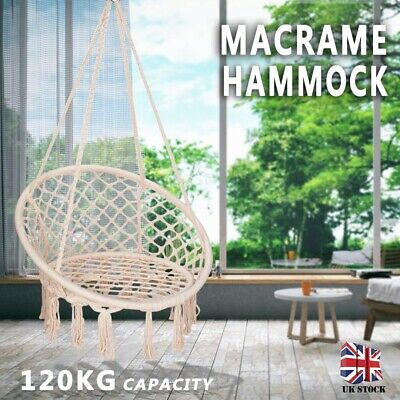 Hanging Rope Swing Chair Knitted Macrame Hammock Metal Tools For Balcony Garden