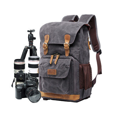 Camera Backpack SLR DSLR Canvas Large Waterproof Anti-shock Camera Travel Bag