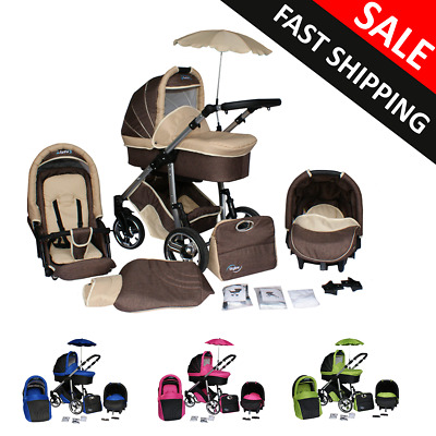 Baby pram and Pushchair Carrycot Buggy Car Seat Newborn Complete Travel System
