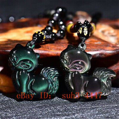 Natural Colour Obsidian Fox Pendant Beads Necklace Carved Jewellery Amulet 1pc