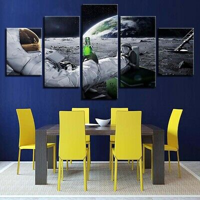 Astronaut Moon Drink Beer 5 Pieces canvas Print Wall Art Picture Home Decor