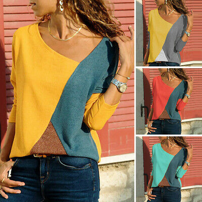 Women Long Sleeve Color Block Top Tee T Shirt Loose Pullover Office Work Blouse