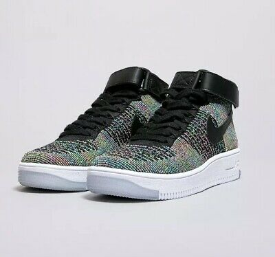 cheaper ba214 aa764 Nike Air Force 1 Ultra Flyknit Mid UK 6 EUR 40 Black Hi Tops Boots Trainers