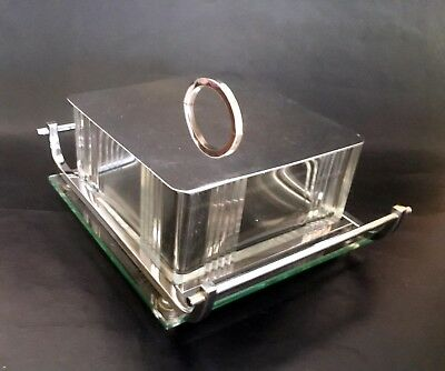 Large French Art Deco/Modernist Crystal & Chrome Box on Tray – Tableware Biscuit